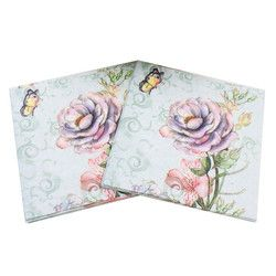 Fresh Printed Rose Flower Butterfly Paper Napkins For Event & Party Decoration Tissue Decoupage 33cm*33cm 20pcs/pack/lot