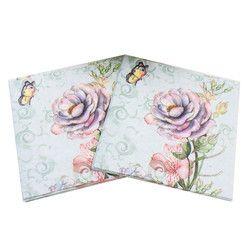 Impreso Rosa Flor Mariposa servilletas de papel para Fiestas y Eventos Decoración decoupage 33 cm * 33 cm 20 unids/pack/ lot