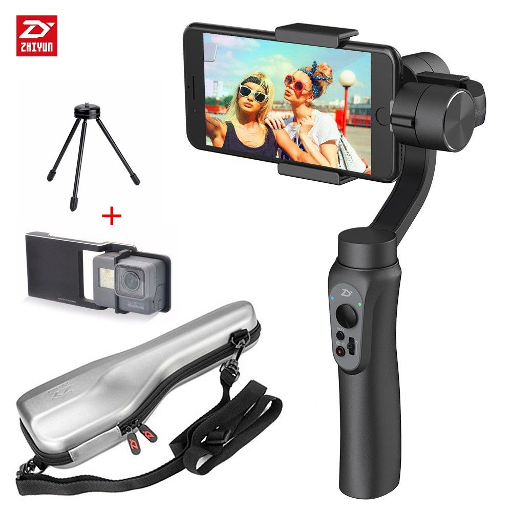 Zhiyun Smooth-Q 3-Axis Smartphone Handheld Gimbal Stabilizer for iPhone X 8 7 Plus 6 Plus Samsung Galaxy S8+ S8 S7 S6 S5 Black