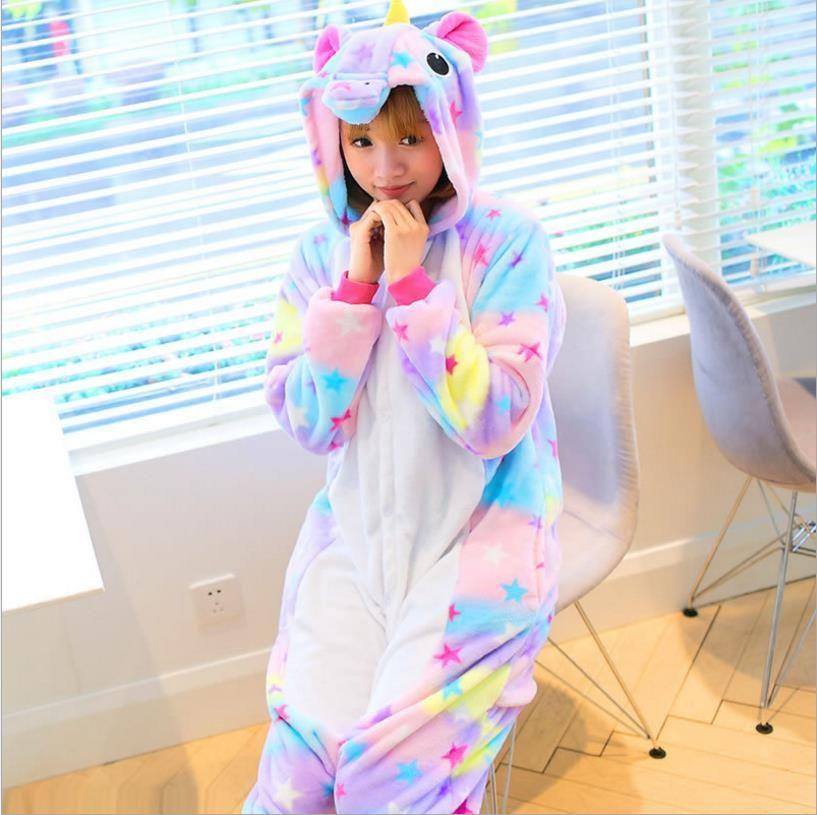Newest Adults Pajamas All in One Pyjama Animal Suit Cosplay Women Winter Garment Cute Cartoon Animal Unicorn Pajama Sets