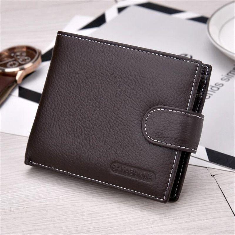 Hohe Qualität Echtes Kuh-leder Einfache Design Kaffee/Schwarz herren Mini Brieftasche Europäischen Und Amerikanischen Stil Männer Kleine tasche Geldbörse
