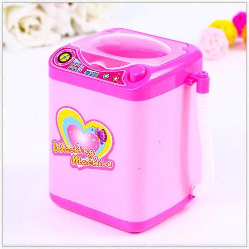Mini makeup brush cleaning electric pink washing machine toys pretend play kids toys children Furniture Toys Children's day gift