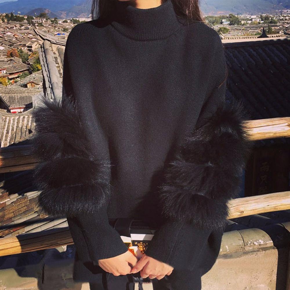 Women Sweater Oversized Fur Sweater Winter Truien Dames Fluffy Sweater Tunic Turtleneck Pull Femme Manche Longue 2017 Outwear