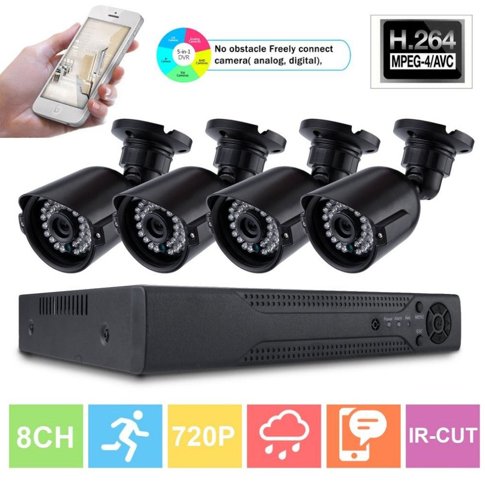 8CH Home Safety 4pcs Monitor Camera 1080N AHD DVR 1280TVL Night Vision Outdoor Indoor Video Surveillance Security System Kit