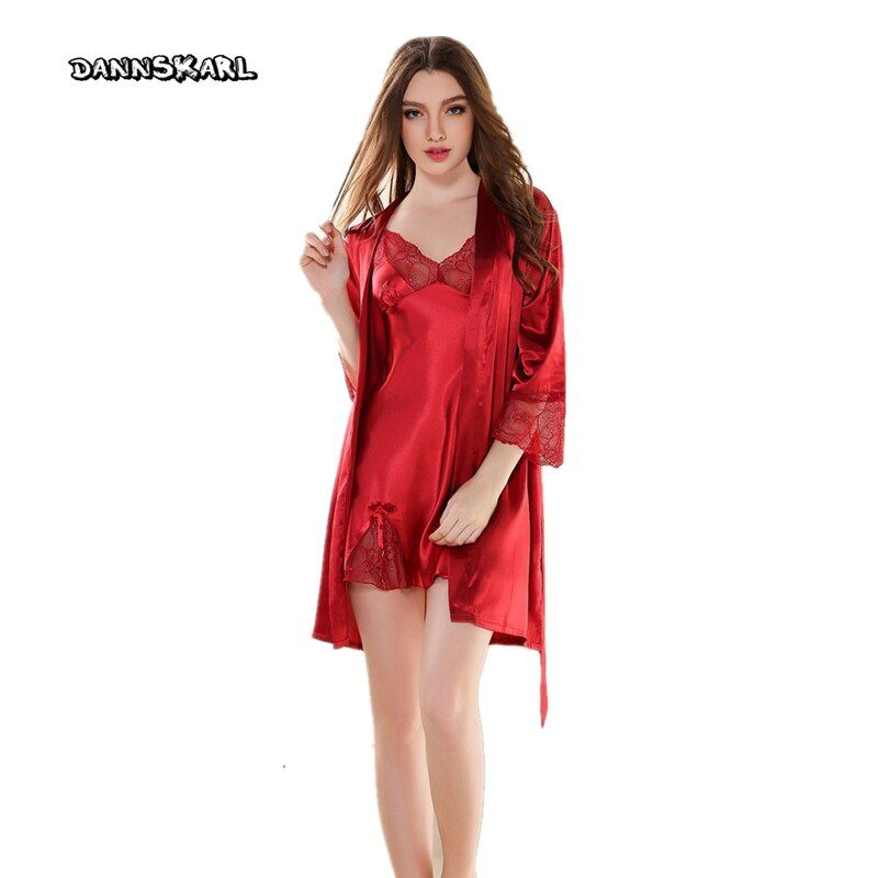 DANNSKARL 2017 New Brand Sexy Women Embroidery Ice Silk Sleepwear Sexy Lingerie Robe Spring Summer  Sleeve Night Dress