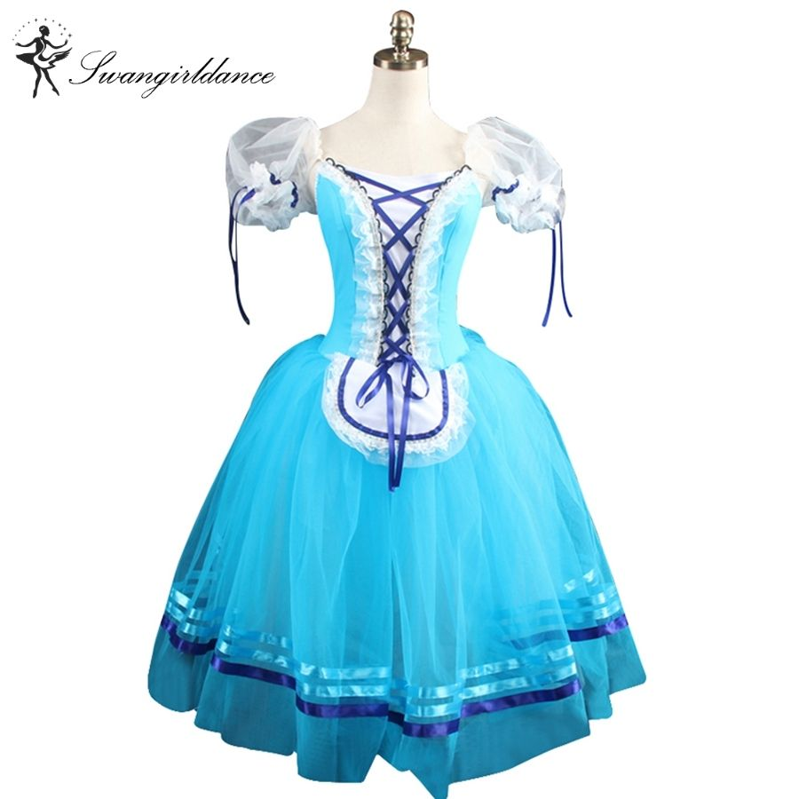 girls blue giselle Ballet dresses pink Romantic ballet costumes brown puff sleeve professional ballet tutusBT8904