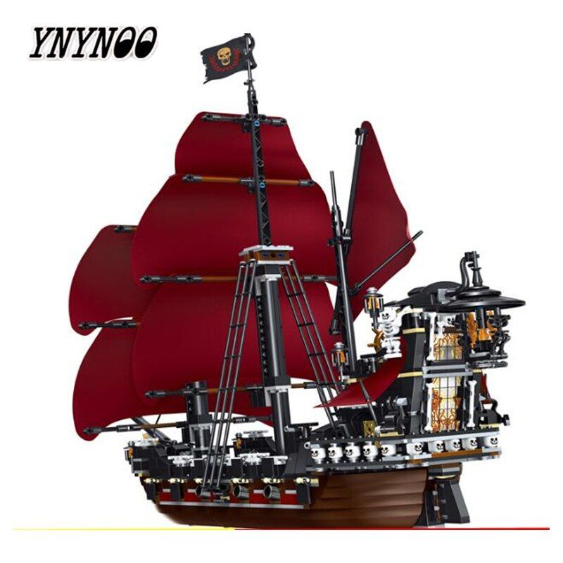 YNYNOO 39008 1222pcs Queen Anne\'s Revenge Pirates Of Caribbean Lele Building Block Compatible legoings 4195 Brick Toy