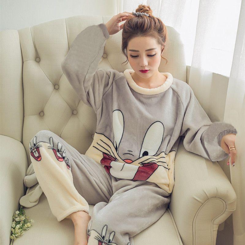 2018 осень-зима Для женщин пижамы набор сна куртка брюки пижамы теплая ночная рубашка женские Носки с рисунком медведя из мультика животного ...