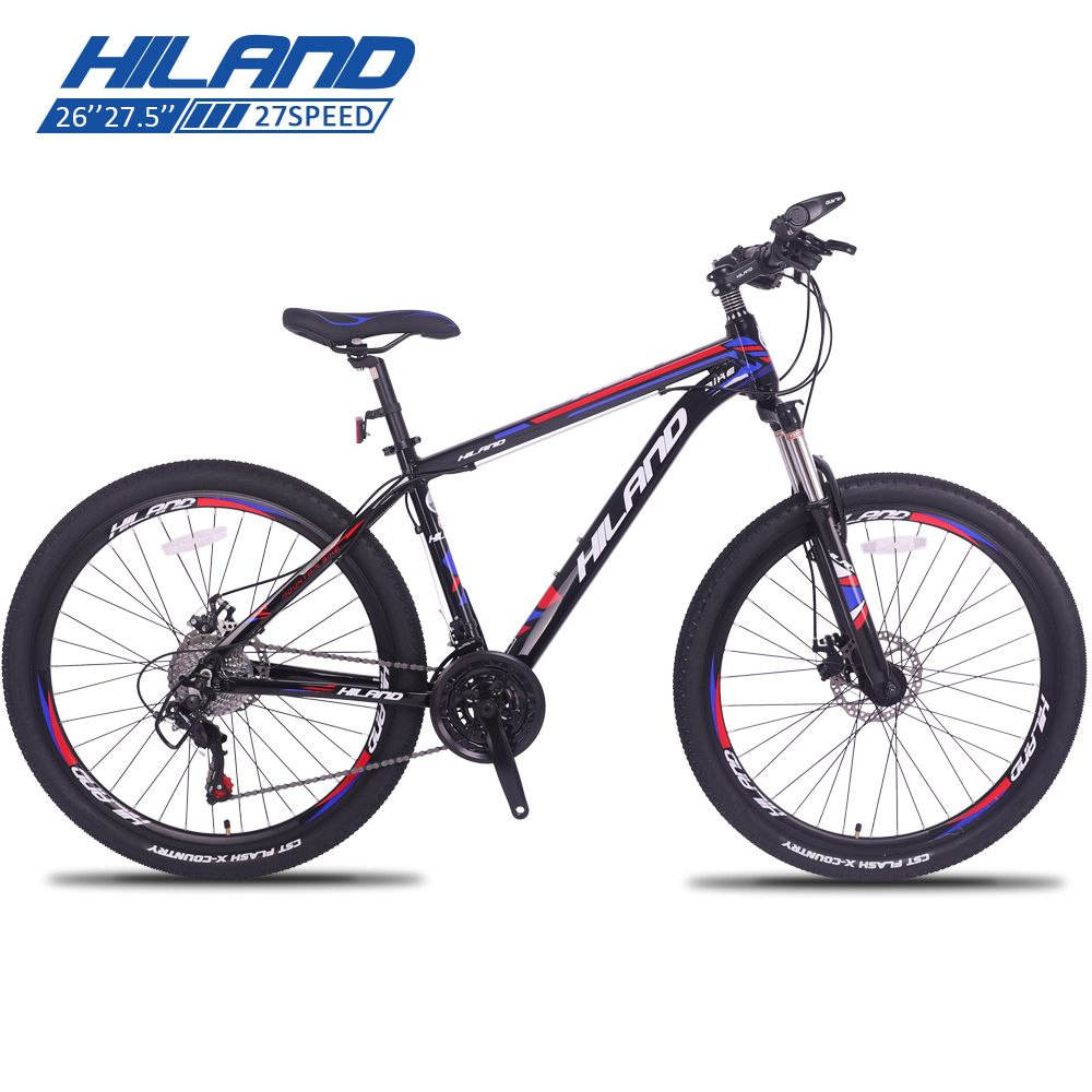 HILAND 26'' Mountain Bike 21/24/27 Speed Steel Bicycle Double Disc Break MTB Suspension Fork Bicycle with Shimano TZ50