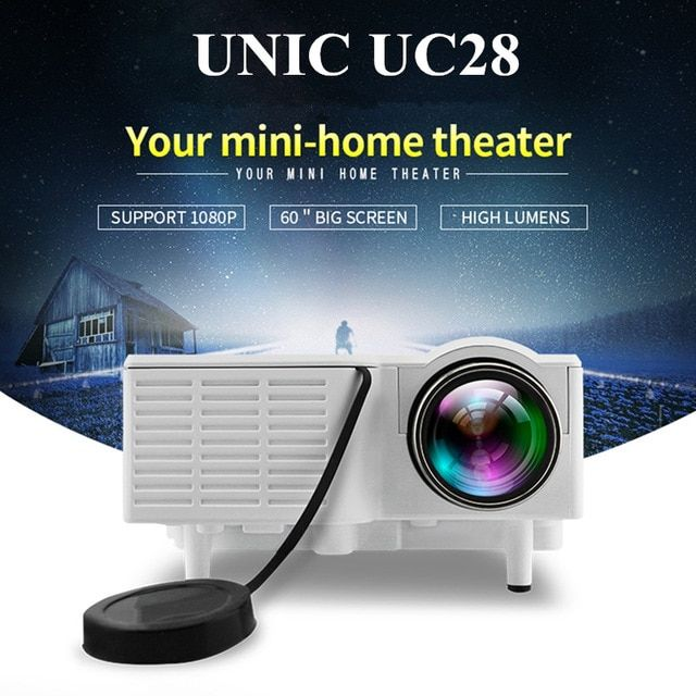 UNIC UC28 Mini Pico Projector Home Cinema Theater Digital LED LCD Projector VGA/USB/SD/AV/HDMI Multimedia Proyector