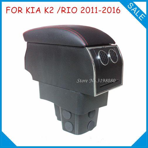 8pcs USB Armrest FOR KIA K2 RIO 2011-2016,Car center arm rest storage box console box with hidden cup holder Car Accessories