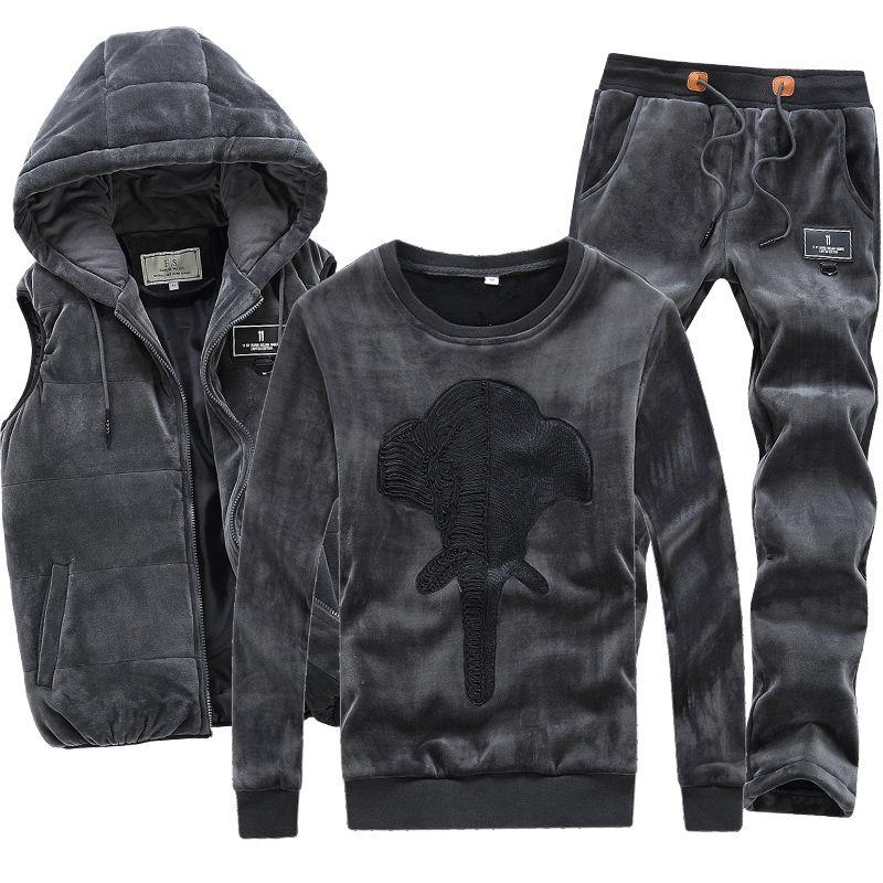 3 Pieces Velour Velvet Men Set Hoodie Pants Vest Hooded Warm Brand Hoodie Sweatshirt Winter Coat Fleece Hip Hop Men Sports Suit
