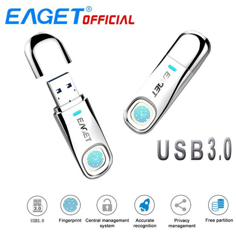 EAGET USB Flash Drive 64 gb Pen Drive Fingerprint Verschlüsselung Stick 32 gb USB Flash Disk Memory Stick Speicher Für laptop PC