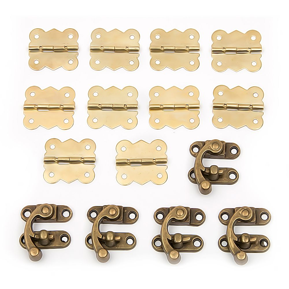 Hakkin 15pcs Antique Drawer Jewellery Wood Box Cabinet Door Hasp Lock Hook Latch Butt Hinges For Fittings Furniture
