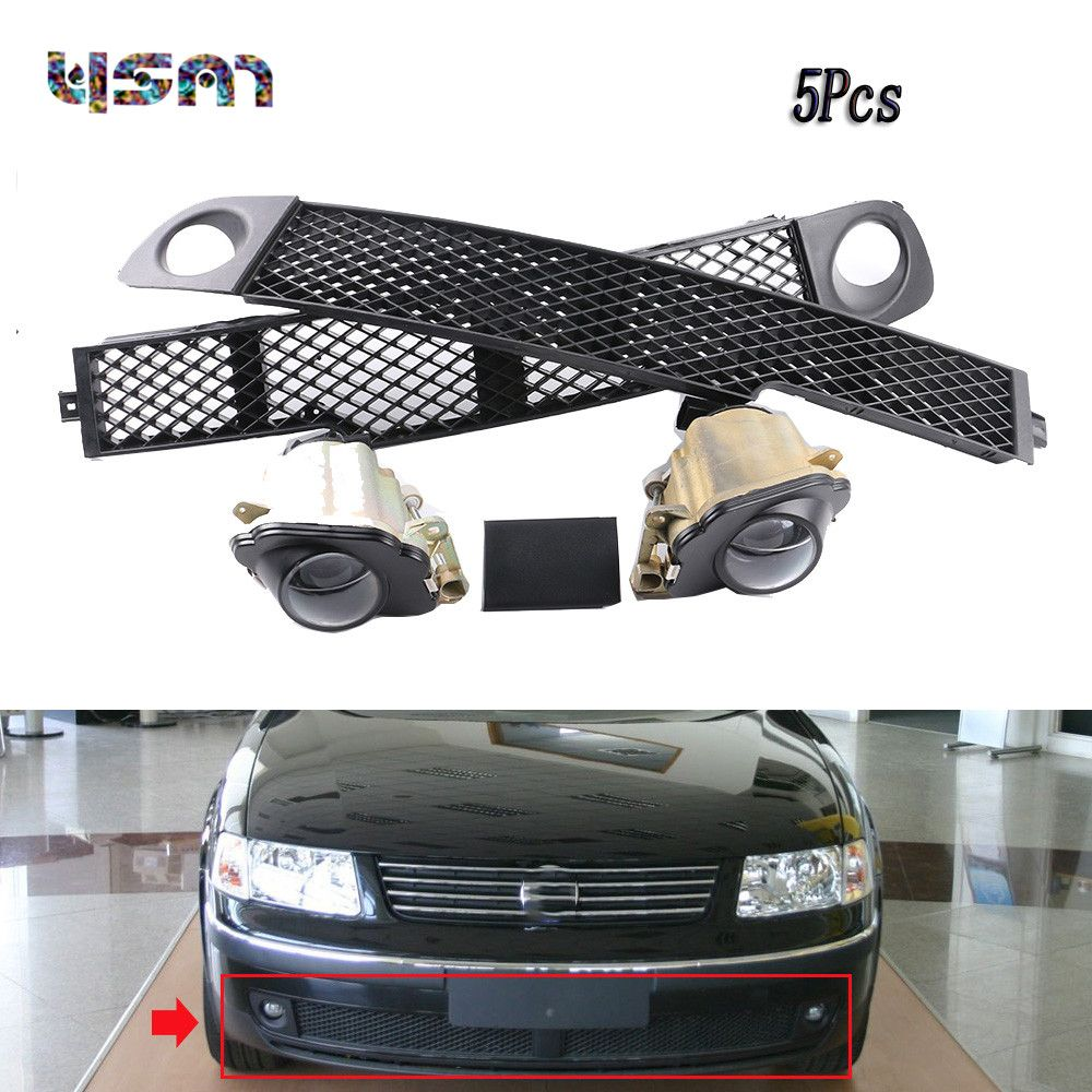 5Pcs Set Front Fog Light Lamp Bumper Grille Left Middle Right Trim Cover Cap For VW 1998 1999 2000 Passat B5 3B0941699 3B0941700