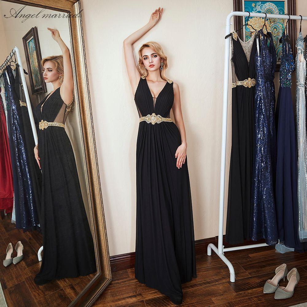 Angel married sexy black prom dress low v neck evening dresses beading slim women pageant dress formal party dress robe de soire