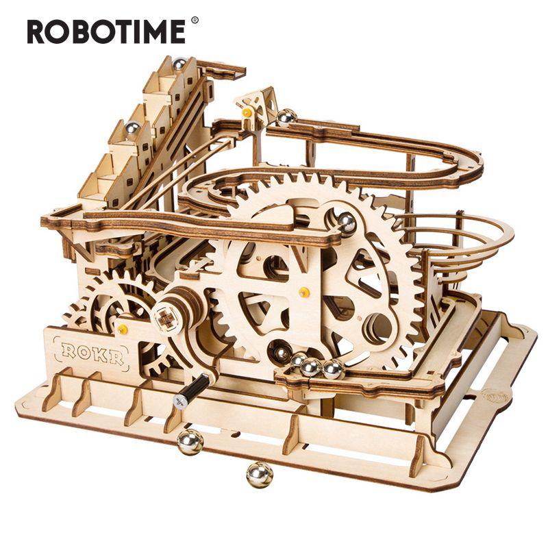 Robotime 4 sortes de jeu de course en marbre bricolage Waterwheel en bois modèle Kits de construction assemblage jouet cadeau pour enfants adulte livraison directe