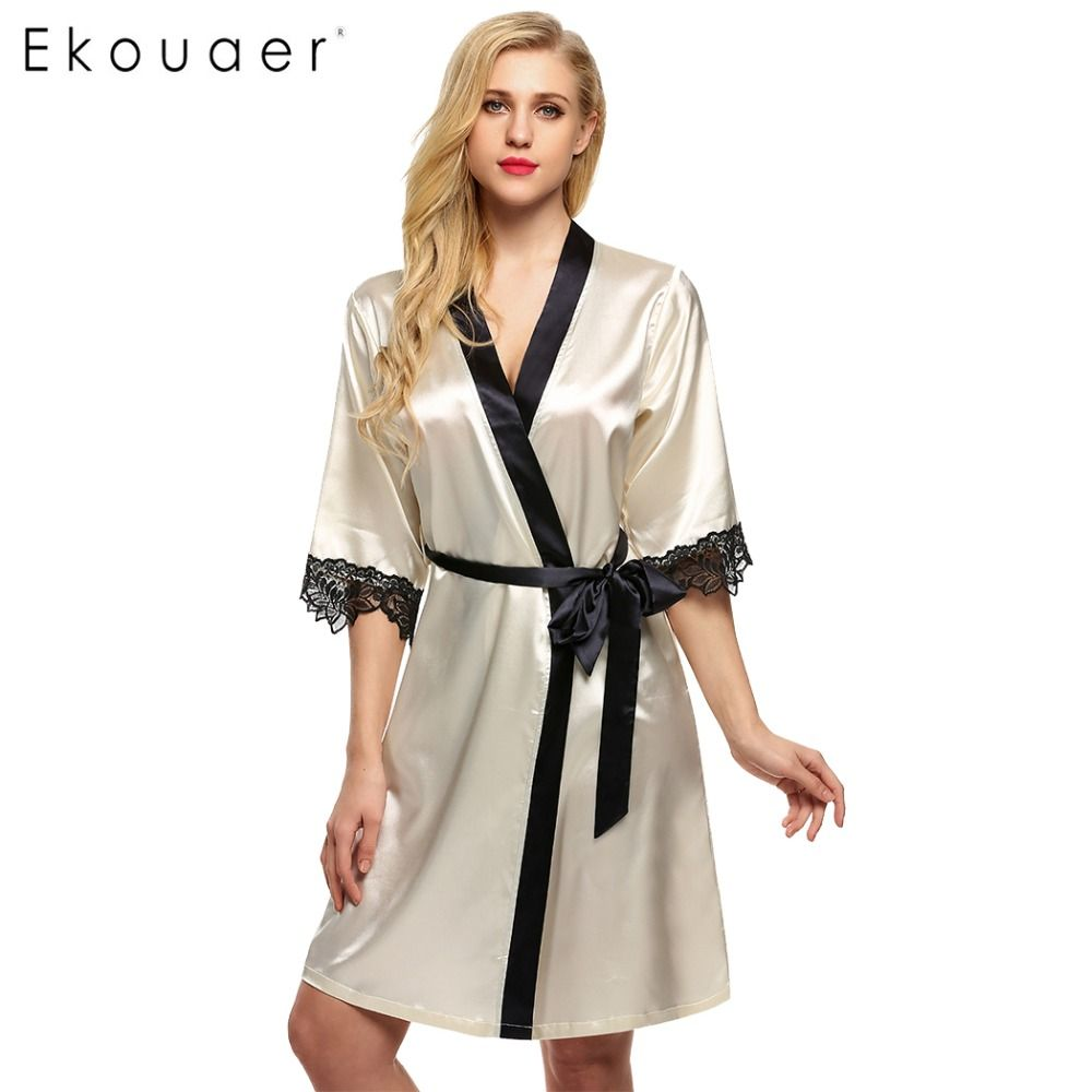 Ekouaer Women's Kimono Robe Knee Length Bathrobe Sexy Lingerie Sleepwear Short Satin Lace Nightwear Bridesmaid Robes XS-XL