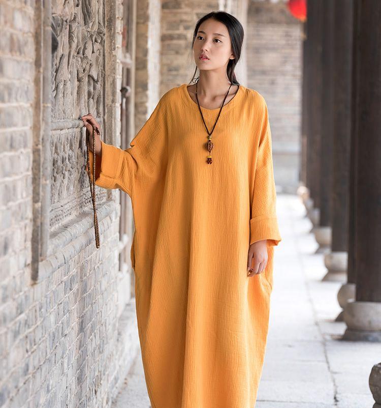 Robe en lin grande taille aile de chauve-souris coton femmes longue Robe oversize style Zen solide Robe Femme robes lâche décontracté Maxi Robe