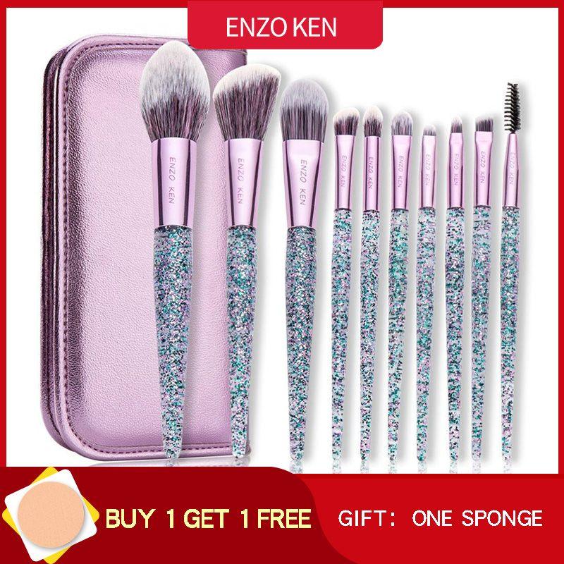 Ensemble de pinceaux de maquillage violet ENZO KEN (livraison directe) 10 pièces fond de teint Blush pinceau poudre mélange fard à paupières maquillage ensemble de pinceaux