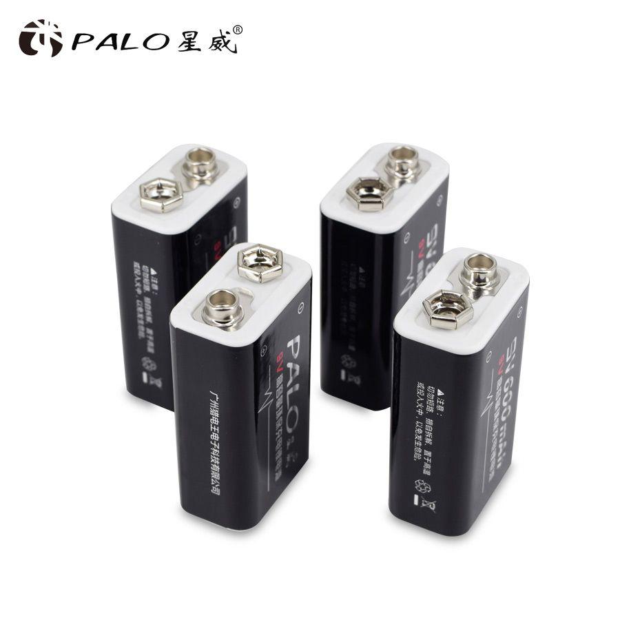 Chaud-vente 4 pcs/lot 600 mAh Li-ion 9 V Rechargeable Batteries Pour détecteurs de Fumée Sans Fil Microphones livraison gratuite