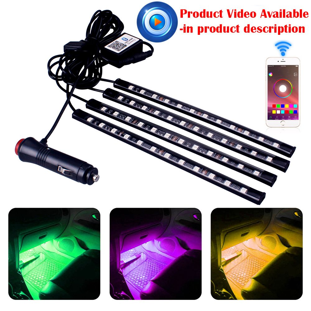 Car Styling Interior RGB 12LED Strip Light Atmosphere Decoration Lamp 12V Car Light Interior Light Android iOS Phone APP Control