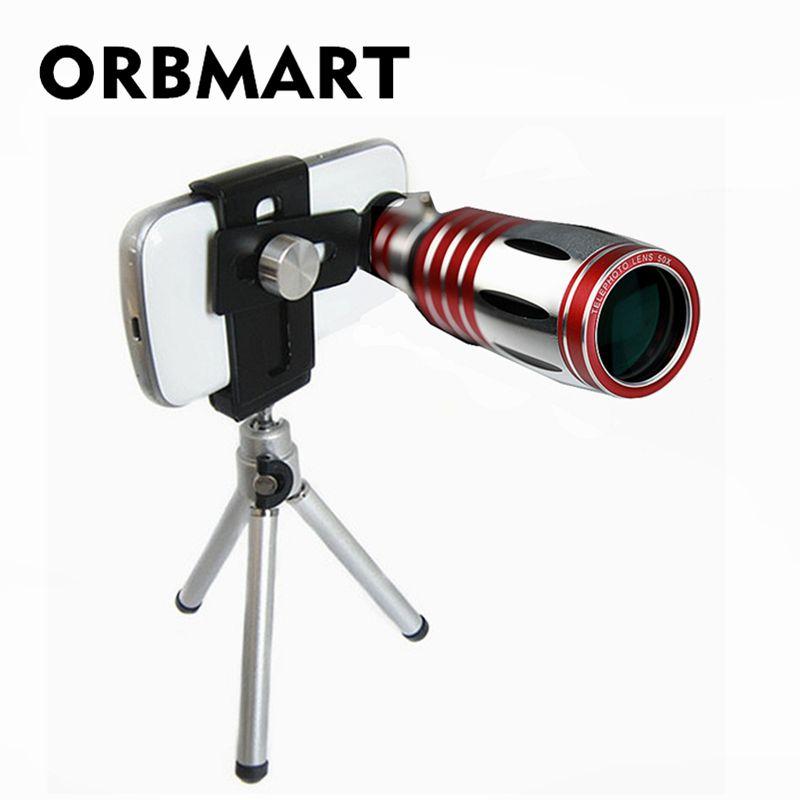 ORBMART Universel Réglable Clip 50X Optique Zoom Aluminium Télescope Lentille + Mini Trépied Pour l'iphone 6 6 s 7 7 plus Samsung Xiaomi
