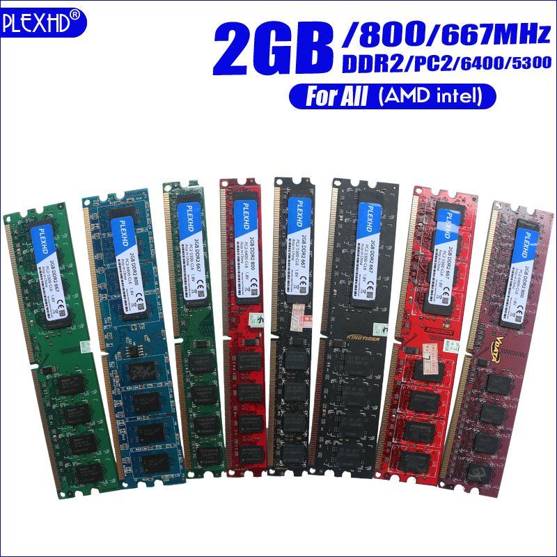 PLEXHD Desktop PC Memory RAM Memoria Module DDR2 800MHz 667 MHz PC2 6400 5300 1GB 2GB 4GB 8GB 240 pins For All (For intel amd)