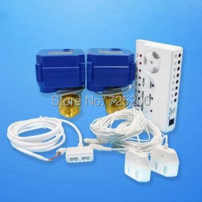 Great Promotion High Quality Russia Ukrain Smart Home Water Leakage Sensor <font><b>Alarm</b></font> System w Double 1/2 Motorized Valve(DN15*2pc)
