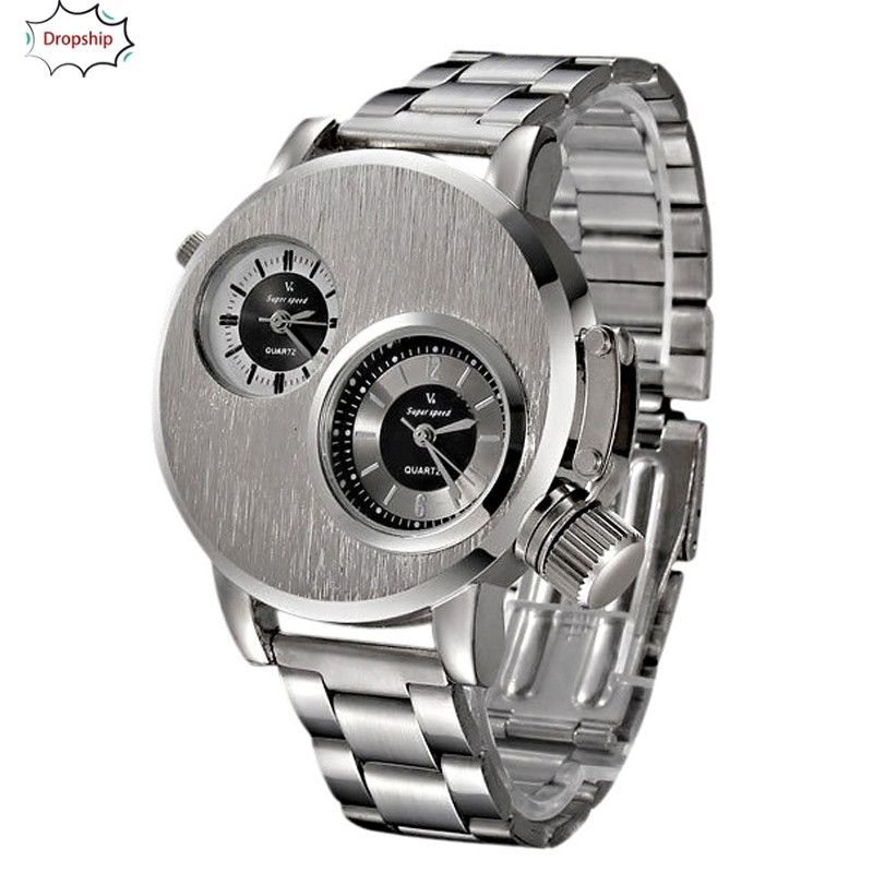 OYOKY Fashion New Mens Stainless Steel Date Military Sport Quartz Analog Wrist Watch 18Oct5