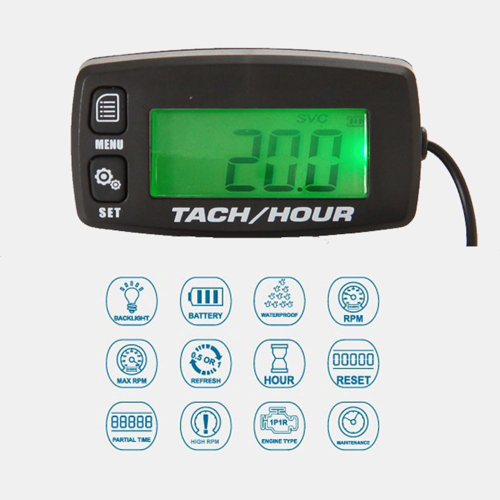 Hour Meter Tachometer Gauge Backlight Digital inductive Tach/Hour meter for Motocross ATV mower CHAINSAW MARINE Gas Engine