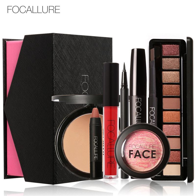 FOCALLURE 8Pcs Daily Use Cosmetics Makeup Sets Make Up Cosmetics Gift Set <font><b>Tool</b></font> Kit Makeup Gift