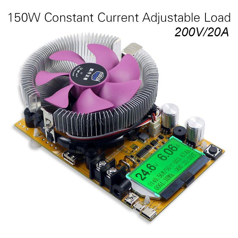 200V 20A 150W adjustable Constant Current Electronic Load Battery Tester 12V24V48V Lead-acid lithium Discharge Capacity meter