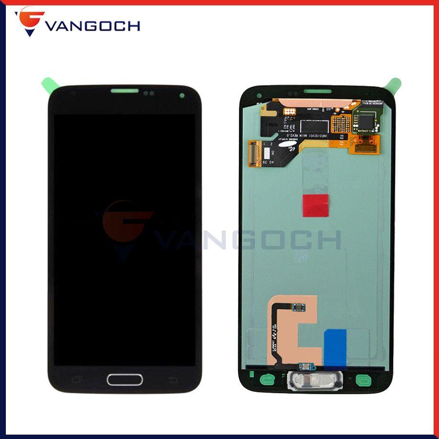 Super Amoled Écran D'origine Pour Samsung Galaxy S5 G900 G900F LCD Écran Tactile Digitizer Remplacement Assemblée Avec Bouton À La Maison