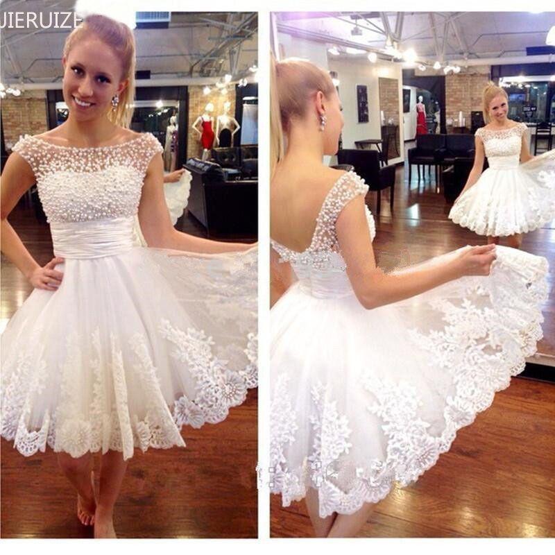 JIERUIZE vestidos de novia dentelle Appliques perles robes de mariée courtes à lacets dos pas cher robes de mariée robe de mariee