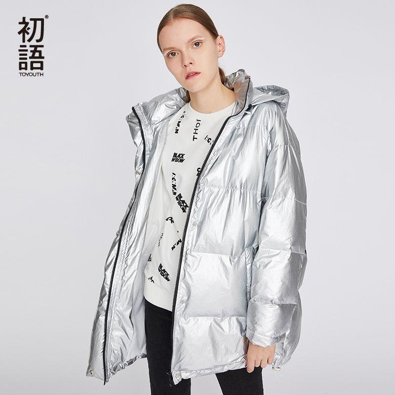Toyouth Winter Buchstaben Verdickung Frauen Mäntel Langarm Silber Padded Jacke Warme Mit Kapuze Weibliche Parka Schnee Mantel Outwear