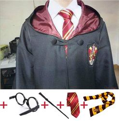 Cosplay Costume Robe Cloak with Tie Scarf Ravenclaw Gryffindor Hufflepuff Slytherin for Adult Kids   for Harri Potter Cosplay
