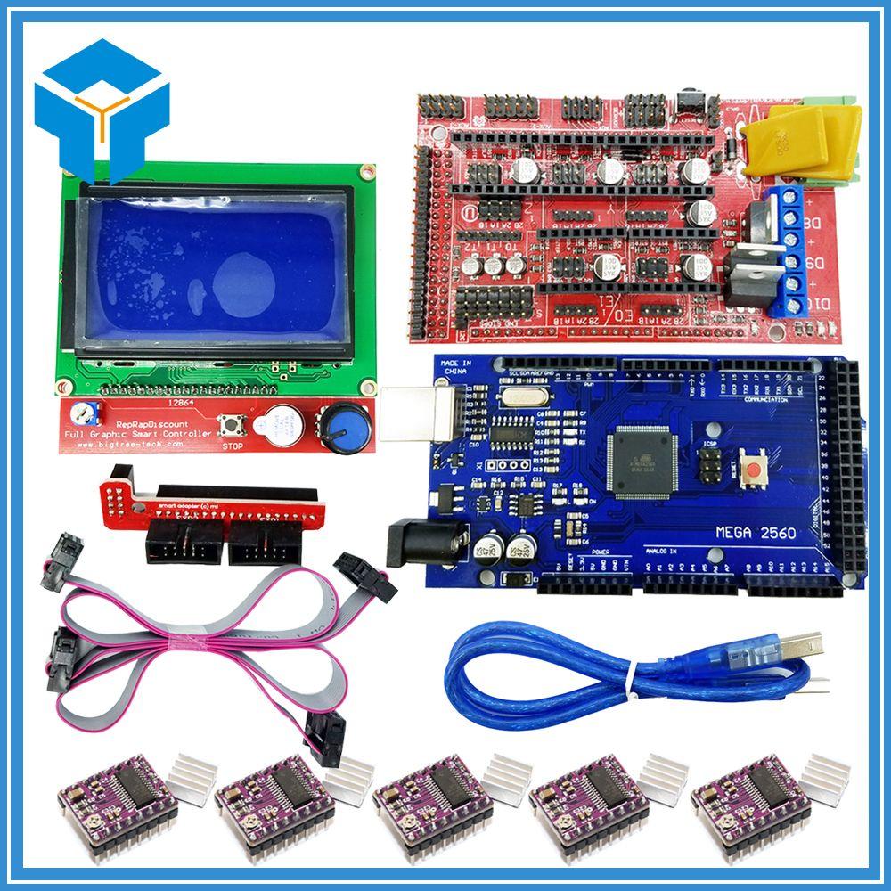 3D Imprimante kit 1 pcs Mega 2560 R3 + 1 pcs RAMPES 1.4 contrôleur + 5 pcs DRV8825 Stepper Motor Drive + 1 pcs LCD 12864 contrôleur