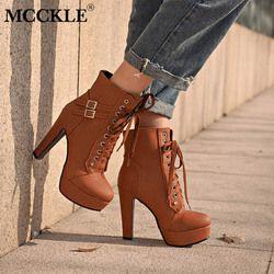 MCCKLE más tamaño botas para mujeres plataforma tacones altos Lace Up zapatos mujer hebilla bota corta Casual señoras calzado