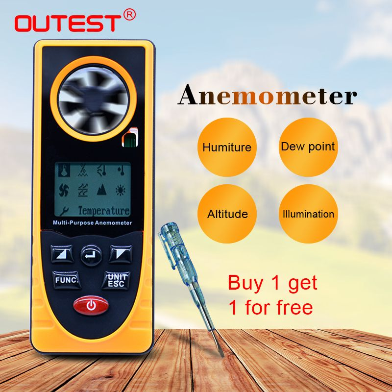 GM8910 Multi-functional digital anemometer wind chill dew point barometric pressure tester -40-10 degree