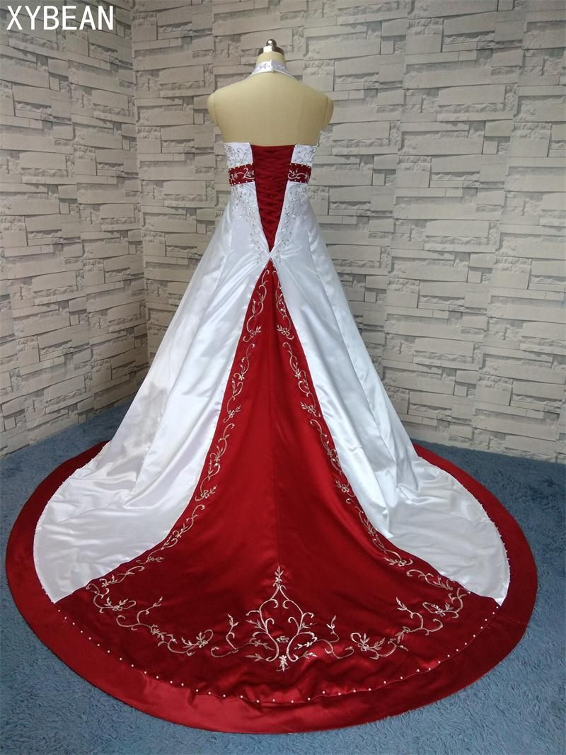 2018 Free Shipping Beading embroidery A line Strapless With Train Red and white Wedding Dresses