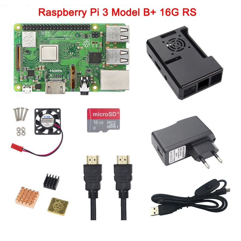 In Stock Raspberry Pi 3 Model B+ Plus+ABS Case+CPU Fan+5V 2.5A Power Adapter with Switch+Heat Sink+16G 32G SD Card+HDMI Cable