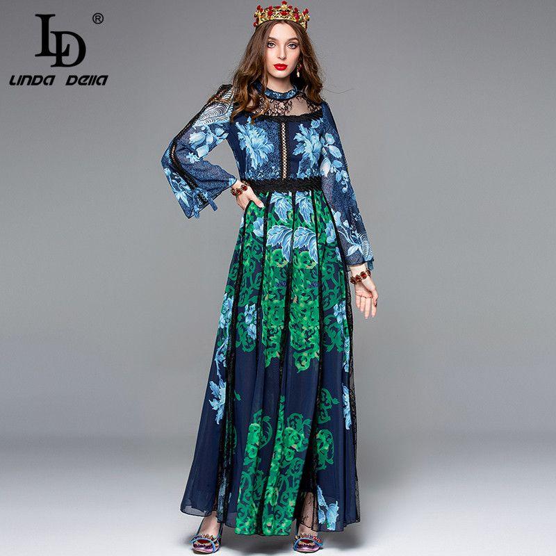 LD LINDA DELLA Herbst Designer Maxi Kleider Frauen Langarm Floral Print Stickerei Kleid Lange Kleid Elegante Party Kleider