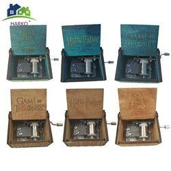 Tallado antigüedad Harry Potter caja De música Juego De tronos música Star Wars manivela De madera tema música caja De musica