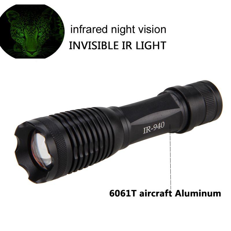 Chasse tactique IR LED lampe de poche tactique Zoomable 10 W 940nm Vision nocturne torche infrarouge rayonnement Focus lumière pistolet mont 18650