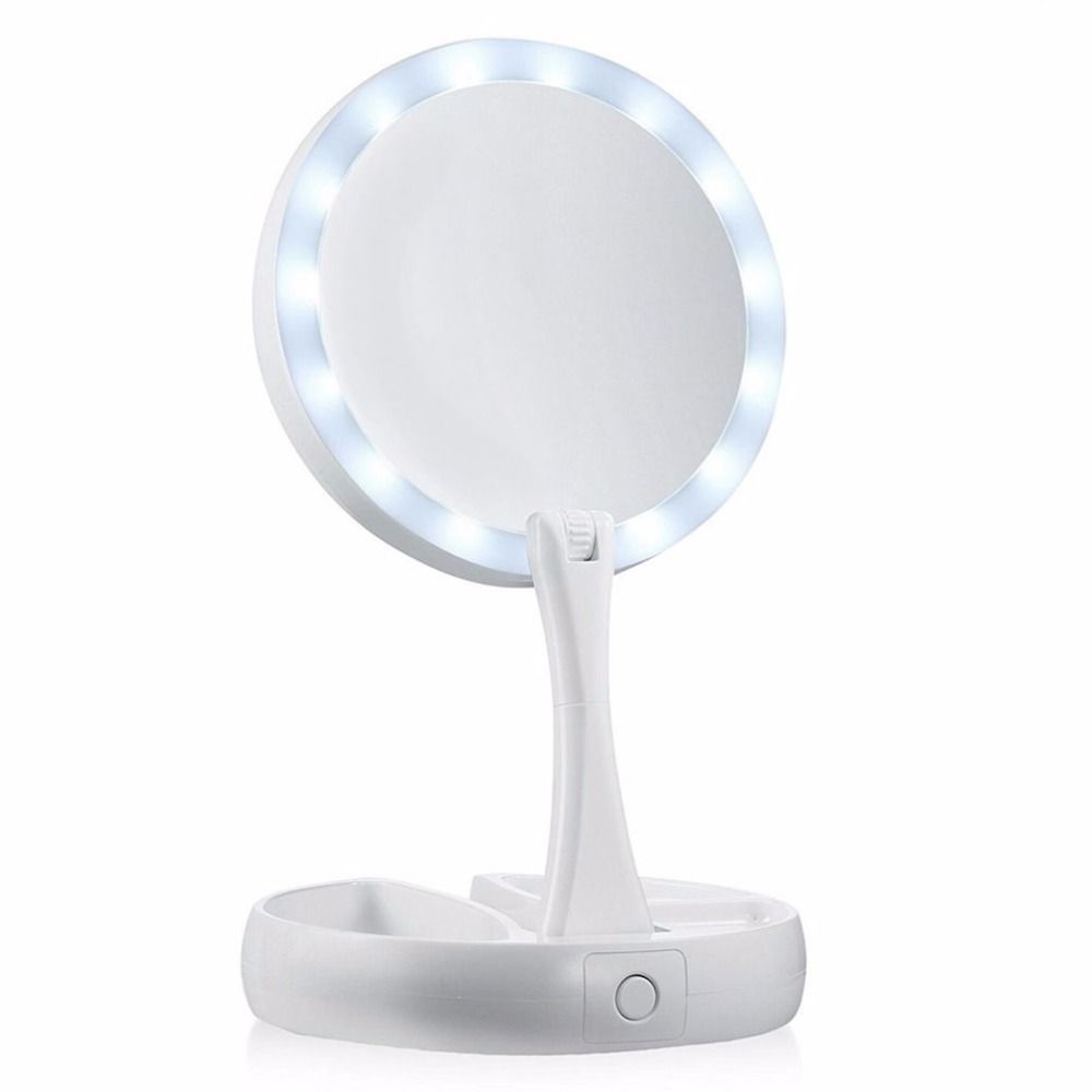 Portable Round Foldable LED Makeup Mirror Women Facial Make Up Mirror Table Desktop Cosmetic Mirrors Tools <font><b>Gift</b></font>