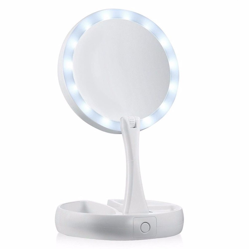 Portable Round <font><b>Foldable</b></font> LED Makeup Mirror Women Facial Make Up Mirror Table Desktop Cosmetic Mirrors Tools Gift