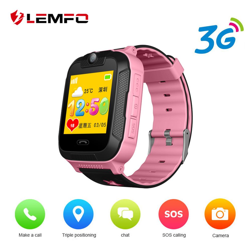 LEMFO Smart Watch Kids Android 4.2 Cute 3G SIM Card GPS LBS SOS Dial Call Camera Baby Smart Watch For Children Big Battery