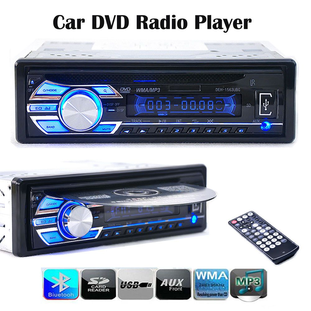 New Car Electronics Audio Car Radios Car Stereo 1563U FM Radio MP3 Audio Player Support SD MP3 AUX USB DVD VCD CD In-Dash