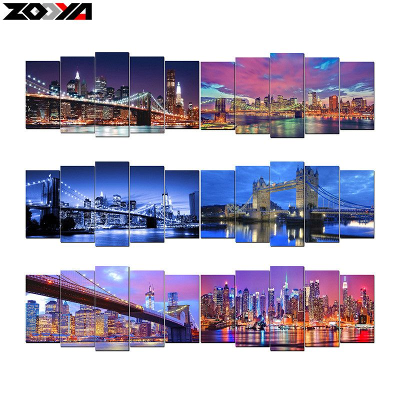 ZOOYA 5d diy Diamond embroidery night <font><b>city</b></font> scenic diamond painting Cross Stitch full drill Rhinestone mosaic Multi-picture